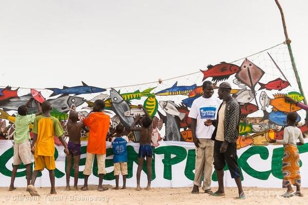 Greenpeace Africa activists, together with Joal villagers and local fishermen, celebrate World Oceans Day by creating a banner of paper fish on a 40 meter long net. They express their commitment to sustainable fishing after the departure of foreign pelagic trawlers. This day is also a call to all the people and fisheries stakeholders in the region, up to the governmental level, to work towards a better management of marine resources.